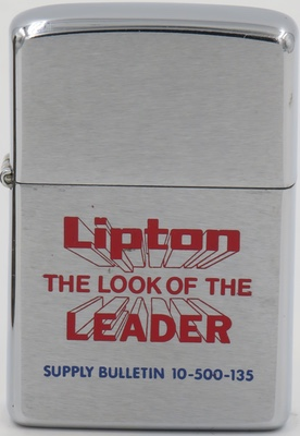 "1977 Zippo for Lipton, ""The Look of The Leader"". Lipton is a British brand of tea, owned by the company Unilever. The company is named after its founder Thomas Lipton"