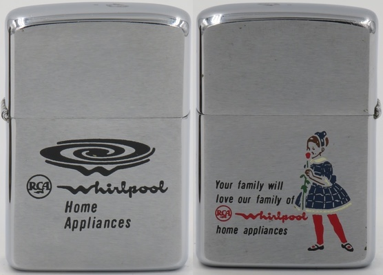 "1960 Zippo advertising RCA Whirlpool washers and dryers. ""Your family will love our family of RCA Whirlpool Home Appliances"". The reverse reads ""RCA Whirlpool Home Appliances"