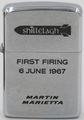 This 1967 Zippo commemorates the first firing of Shillelagh, an anti-tank missile manufactured by Martin Marietta.