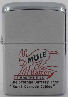 "1958 Zippo with a graphic of a kicking mule advertising Mule Battery, the Storage Battery that ""can't corrode cables"".  It has the kick"""