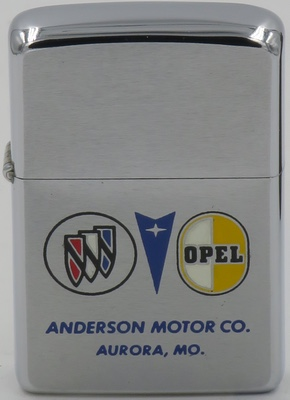 1970 Zippo with the Buick Pontiac and Opel logos; advertises Anderson Motor Co. in Aurora, Missouri