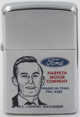 1967 Ford Zippo for Harpeth Motor Company, Franklin Tennessee. Carries the image of R.C. (Junior) Alexander