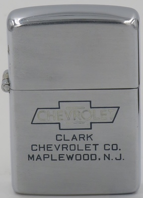 1946-49 line-drawn Zippo with Chevrolet logo advertising Clark Chevrolet in Maplewood NJ