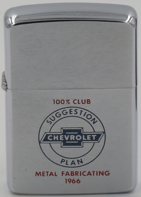 1966 Zippo - Chevrolet Suggestion Plan 100% Club- Metal Fabricating