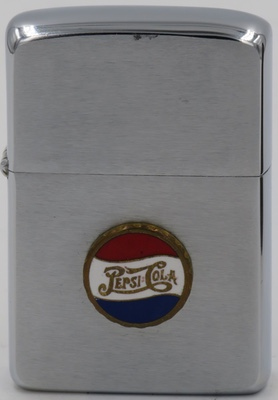 1959 Zippo with an attached badge with the 1950 bottle cap design version of the Pepsi