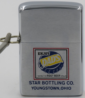 "1968  loss-proof Zippo -  Enjoy DAD's ""tastes like ROOT BEER should"" advertising Star Bottling Co in Youngstown Ohio"
