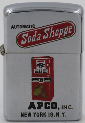 1951 Zippo with a graphic of an early soda vending machine for Automatic Soda Shoppe - APCO Inc. in New York