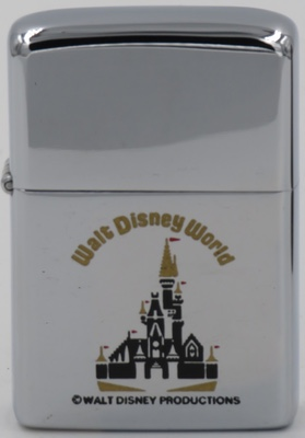"Here is a 1978 Disney World Castle Zippo.  It has no ""D"" because it's for Disney World, not Disneyland"