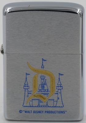 "Here is Disneyland Castle on a 1976 Zippo. Castles with the ""D"" in gold (or blue) are quite scarce"