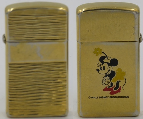 Images of Minnie Mouse on Zippos are scarce.  He she appears on a 1979 slim, gold-plated Zippo, possibly a test model
