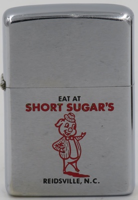 "1972 Zippo with Porky Pig or his look alike ""Eat at Short Sugar's"" in Reidsville, North Carolina"