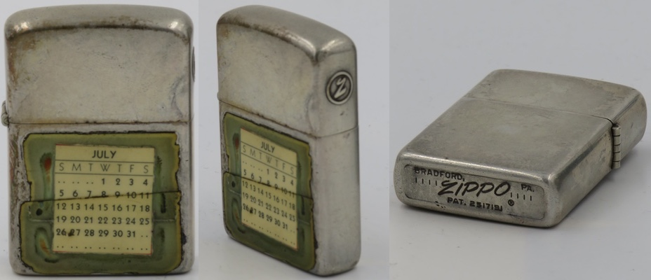 "1966 prototype Sterling Silver Zippo with July calendar under a clear lacquer.  Note the unusual circled ""Z""  on the lid and the standard Zippo canned and dated bottom.  The ""July"" calendar is for the 1964 year"