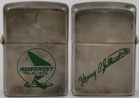 Early 1950's Sterling Zippo for Allegheny Airlines which became USAir.   On the reverse has  signature of Henry A. Satterwhite, one of the founders of Bradford AM radio station and who was on the Board of USAir Group for 26 years.