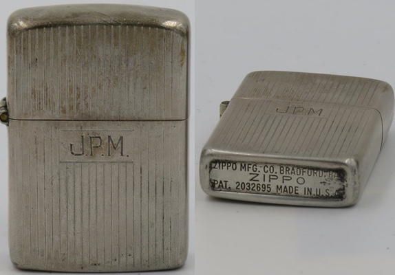 "1946-49 engine turned Sterling Zippo with initials ""JPM"" with rare regular bottom"