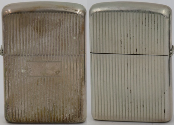 1960's engine-turned Sterling Zippo with vertical lines