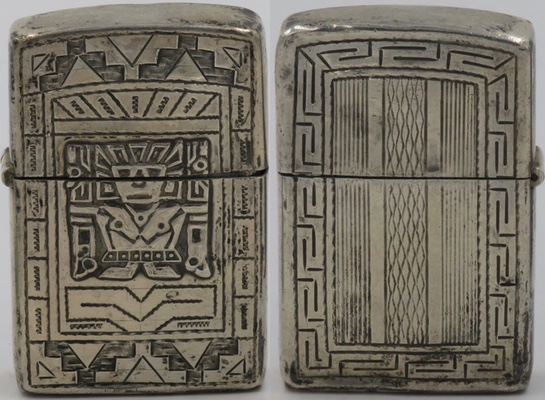 925 Sterling lighter made in Peru with Viracocha on one side, geometric patterns on reverse