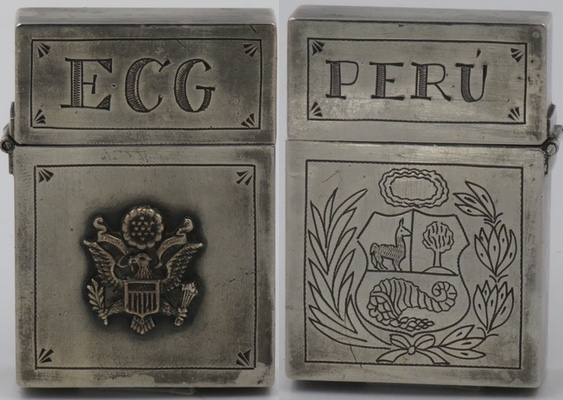 "Peru unmarked Sterling lighter with square corners, letters ""ECG"" on lid, attached US seal on the front case; back has ""PERU"" on lid and Peru national emblem engraved on bottom"