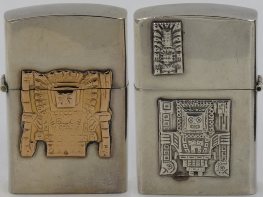 "925 Sterling high-polish lighter made in Peru with attached 18k gold Viracocha on one side, reverse has small ""Raimondi Stela"" on lid and a Viracocha in sterling on bottom"