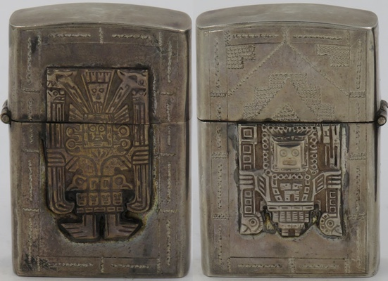 Ornate 925 Sterling made in Peru lighter with a large Viracocha attached to the front, a smaller one on the back