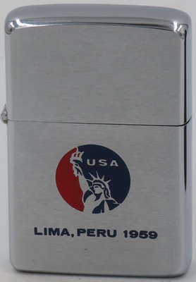 "1959 Zippo engraved with a USA Statue of Liberty Emblem and ""Lima, Peru 1959"""