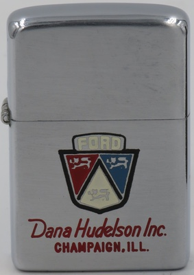 1949-50 Zippo with the Ford logo advertising Dana Hudelson, Inc., Champaign, Illinois