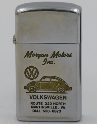 1968 slim Zippo advertising  Volkswagen Morgan Motors, Inc. Route 220 North, Martinsville, Virginia is engraved with the famous VW Beetle