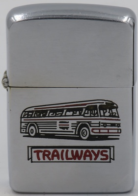1955 Zippo with a Trailways bus. Continental Trailways was Greyhound's leading competitor until it was merged into Greyhound in the 1980's