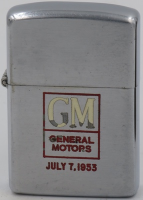 This 1953 General Motors Zippo has been engraved with the date July 7, 1953.  This is the date that the very first Corvette was produced.  The Corvette went on to become an American classic