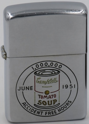 1951 line-drawn Zippo for Campbell Soup recognizing 1,000,000 accident free hours - June 1951