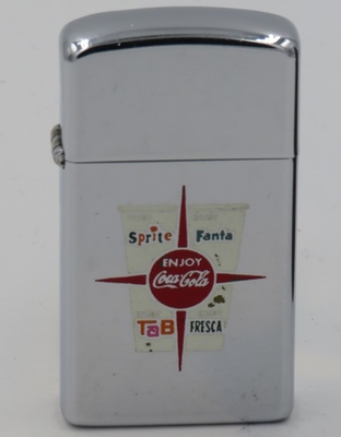 1968 slim Zippo with the image of a paper cup advertising Coca-Cola, Fanta, Tab and Sprite.