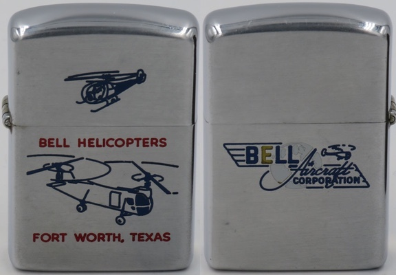 1953 Bell Zippo with engravings of the XH-13F and the Bell 61, the first helicopter designed for antisubmarine warfare.  Bell is based in Ft. Worth, Texas