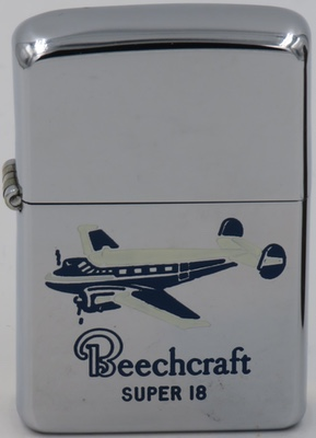 1954 Zippo with a graphic of a Beechcraft 18 airplane The Beechcraft Model 18 is a 6- to 11-seat,[twin-engined, low-wing, tailwheel light aircraft manufactured by the Beech Aircraft Corporation of Wichita, Kansas produced from 1937 to 1969