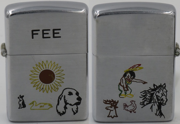 """1946-47 Employee engraved Zippo the letters """"FEE"""" on the lid and engravings of a dog, swan and and a cocker spaniel on the front. The back has engravings of a young indian, a deer's head with antlers, a chicken and the head of running horse."""