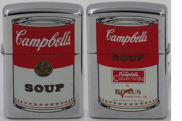 1995 Zippo with the iconic Campbell Soup can on both sides by Bonus Marketing Inc., an advertising specialties company