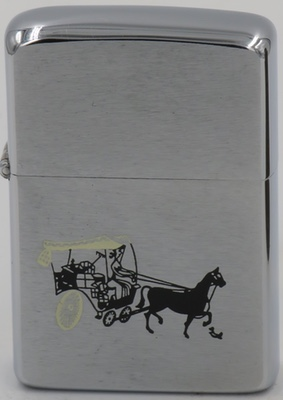 1963 prototype Zippo with a horse and buggy, a simple two-person carriage which went out of vogue with the introduction of the automobile in 1910