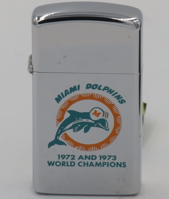 "1973 slim Zippo for the Miami Dolphins 1972 ""perfect season"" and 1973 NFL World Championship team"