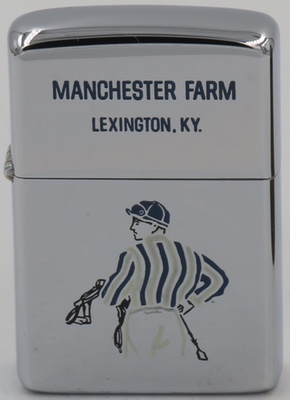 1966 high-polish Zippo with the image of a jockey for  Manchester Farm in Lexington, Kentucky