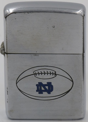 This 52-53 Zippo with a line-drawn Notre Dame University Fighting Irish pig-skin