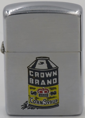1950's Canadian Zippo advertising Crown Brand Corn Syrup. Crown Golden Corn Syrup has been a staple in the Canadian kitchen cupboards since 1900. Crown is the preferred brand in Quebec, Atlantic Canada and British Columbia