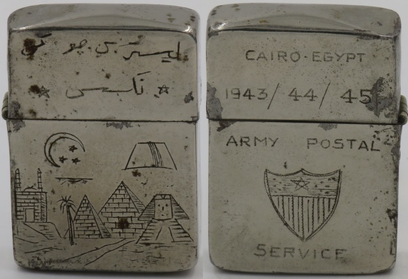 "This trench art 1945 Zippo for was presumably for a member of the Army Postal Service based in Cairo Egypt.  The U.S. Army Forces in the Middle East was established in 1942 when the US Army Air Force began bombing missions against the Axis forces.  Besides the years ""1943/44/45"" the lighter is engraved with images of pyramids, star and crescent and Arabic writing"