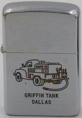1955 Zippo wih a graphic of a Griffin Tank truck.  Griffin is a producer of tanker and armored trucks based in Byhalia, MS