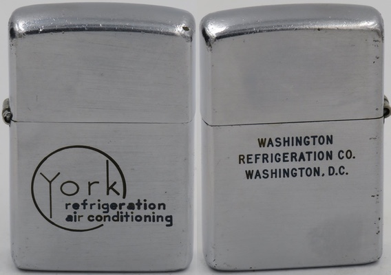 1949-51 Zippo advertising York Refrigeration and Air conditioning in Washington DC.  Founded in 1874, York has become the largest, independent manufacturer of air conditioning, heating, ventilation and industrial refrigeration equipment in the world