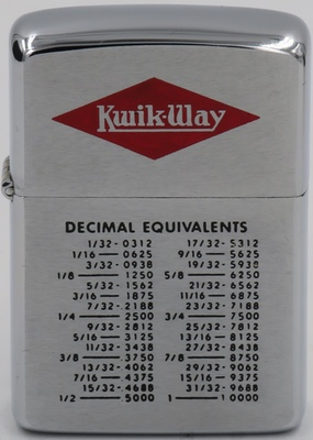 This 1966 Zippo has a Decimal Equivalents Chart by Kwik-Way, or Cedar Rapids Engineering Company, a manufacturer of valves and cylinders since the 1920's