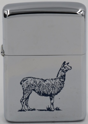1961 Zippo with a llama, a domesticated South American camelid, widely used as a meat and pack animal by Andean cultures since the Pre-Columbian era