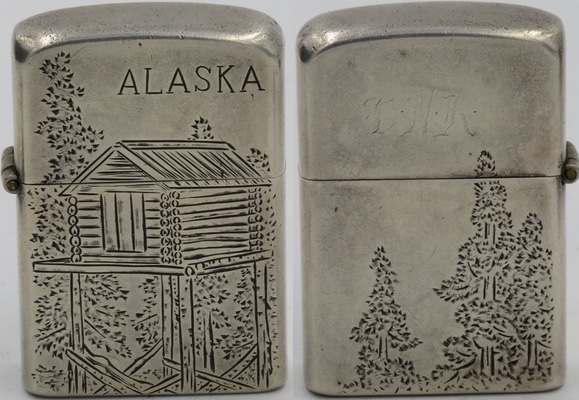 "1950's Sterling Alaska Cabin 2.JPG ""Hand engraving Sterling Silver 950 Made in Japan"""