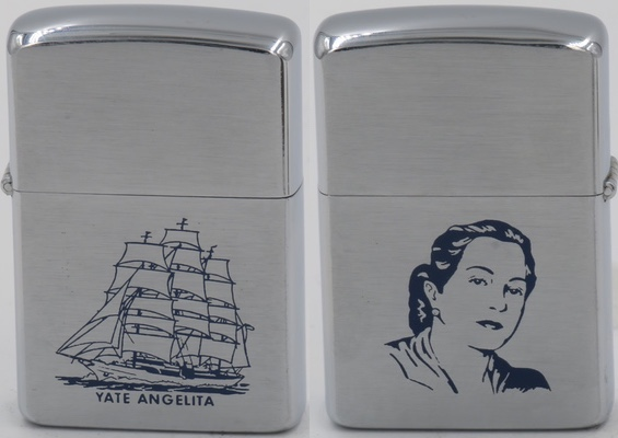 "1958 Zippo with the image of Rafael Trujillo's third wife Maria de los Angeles Martínez Alba, also known as ""la españolita"""