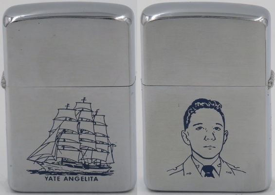 1958 Zippo with image of Rafael Trujillo's second son Leonidas Rhadamés who along with his older brother Ramfis and were named after characters in Verdi's opera Aida