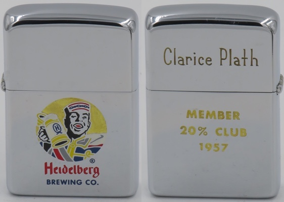 "1957 Zippo for Heidelberg Brewing Company with graphic of the ""Student Prince"" for Heidelberg Brewing Co. The reverse is engraved with the name of  Clarice Plath,  member  of the 20% Club in 1957"
