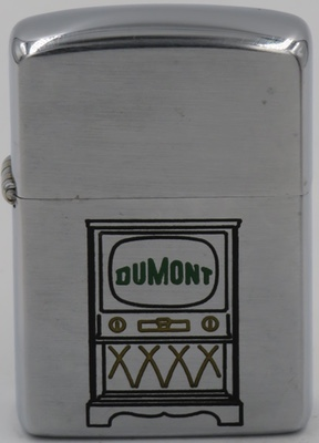 1954-55 Zippo with with a DuMont television set. DuMont, founded in 1938, was a television network that produced the first all-electronic television set for sale to the American public