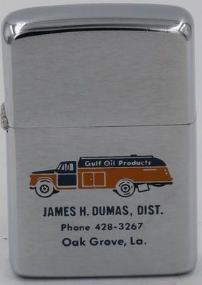 1967 Zippo with a nice graphic of a Gulf Oil truck advertising James H. Dumas, Distributor, Oak Grove, Louisiana
